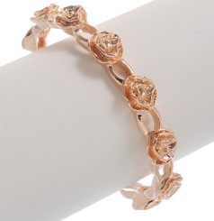 Neoglory Exquisite Rose Gold Plated Rose Carved Casual Adjustable Bangle