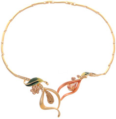 Neoglory Wild Lily Enameled Crystal Casual Necklace