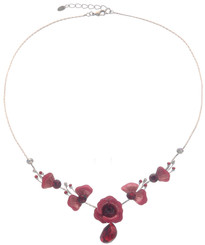 Neoglory Floral Poppy Enameled Party Wear Necklace