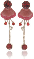 Neoglory Floral Poppy Enameled Party Wear Earrings