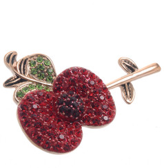 Neoglory Rose Gold Plated Poppy Brooch Poppy Metal With Leaf