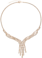 Neoglory Blessed Streamline Gold Plated Crystal Party Wear Necklace