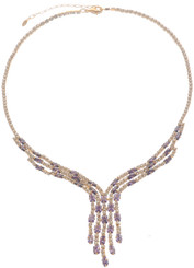 Neoglory Blessed Streamline Amethyst Purple Crystal Party Wear Necklace