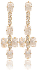 Neoglory Blessed Streamline Gold Plated Crystal Party Wear Earrings