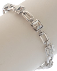 Neoglory Blessed Streamline Silver Plated Clear Crystal Casual Bracelet