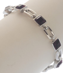 Neoglory Blessed Streamline Silver Plated Purple Crystal Casual Bracelet
