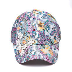 Pink Floral Cystal Grafitti Cap