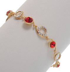 Neoglory Secret Code Open Cycle Crystal Thin Chain Ruby Red Bracelet
