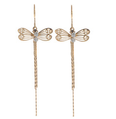 Neoglory Filigree Crystal Dragonflies Chandeller Earrings