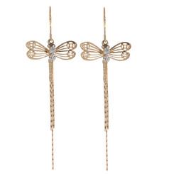 Neoglory Gold Plated Filigree Crystal Dragonflies Chandeller Earrings