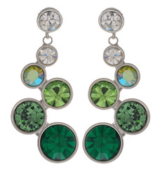 Neoglory Dazzling Bubble Round Crystal Emerald Green Statement Earrings