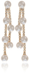 Neoglory Dainty White Pearl Droplet Gold Plated Earrings