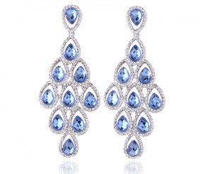 Peacock Crystal Chandelier Earrings