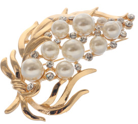 Neoglory White Pearl Family Branch Linked Crystal Brooches