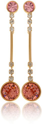 Neoglory Classical Entwisted Gold Plated Encased Orange Round Crystal Earrings