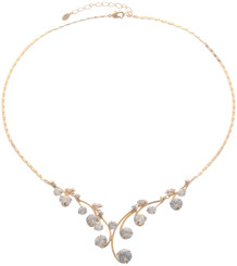 Neoglory Dazzling Branch Linked Round Crystal Gold Plated Necklace