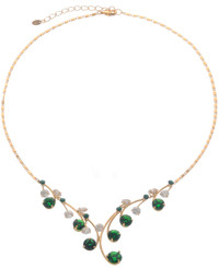 Neoglory Dazzling Branch Linked Round Emerald Crystal Gold Plated Necklace
