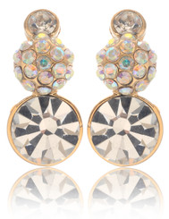 Neoglory Magic Mirror Clear Round Crystal Earrings