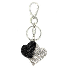 Silver & Black Twin Heart Keyring