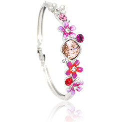 Neoglory Blooming Flowers Silver Plated Zircon Enamelled Bangle