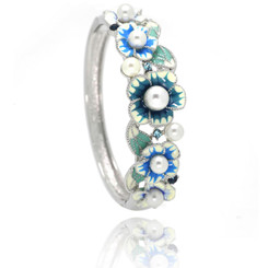 Neoglory Gorgeous Pearls Enamelled Flowers Bangle