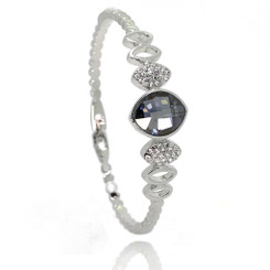 Neoglory Elegant Silver Plated Blue Oval Zircon/Crystals