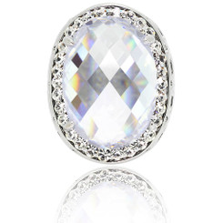 Neoglory Enchanting Faceted Oval Crystals Statement Ring