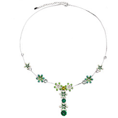 Neoglory Glittering Silver Plated Summer Enamelled Flowers/Crystals Necklace