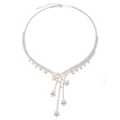 Neoglory Glittering Crystals Embellished Dangling White Pearls Drops Necklace