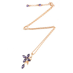Neoglory Charming Crystals Encrusted Clover Long Necklace