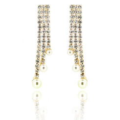 Neoglory Glittering Crystals Embellished Dangling White Pearls Drops Earrings