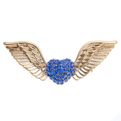 Neoglory Charming Angel Wings Crystals Heart Brooch
