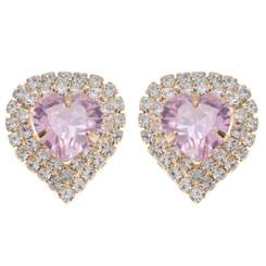 Neoglory Glittering Zircons/Crystals Heart Statement Earrings