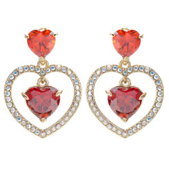 Neoglory Gorgeous Zircons/Crystals Double Hearts Dangling Earrings