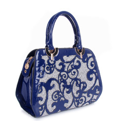 Laser Cut Floral Pattern Bag With Crystal Background