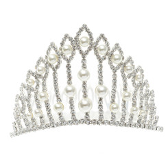 Tall Silver Crystal & Pearl Tiara