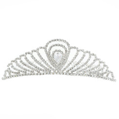 Silver Plated Regal Crystal Tiara