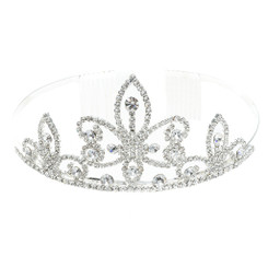 Silver Plated Clear Crystal Baroque Style Tiara