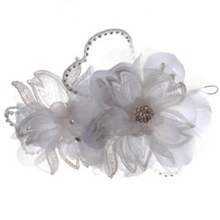 White Flower & Crystal Fascinator