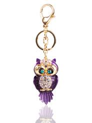Metallic Crystal Owl Keyring