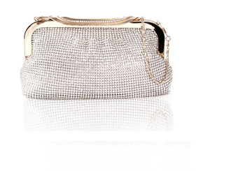 Silver Diamond Ribbon Crystal Bag