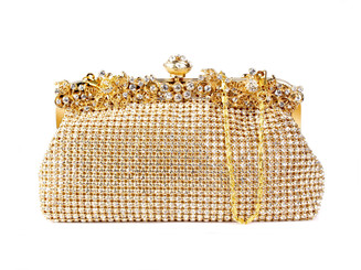 Gold Floral Cluster Crystal Bag