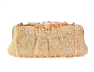 Rose Gold Large Flower Crystal Bag