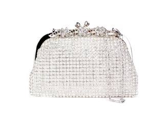 Silver Butterfly Crystal Bag