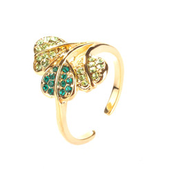 Gold Plated Green Crystal Leaf Toe Ring