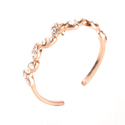 Rose Gold Plated Clear Crystal Wavy Toe Ring