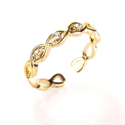 Gold Plated Clear Crystal Infinity Toe Ring