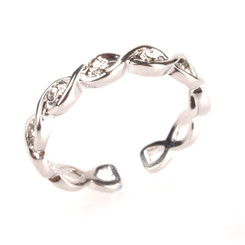 Silver Plated Clear Crystal Infinity Toe Ring