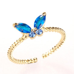 Gold Plated Blue Crystal Butterfly Toe Ring