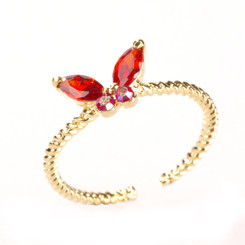 Gold Plated Red Crystal Butterfly Toe Ring
